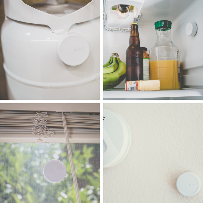 Each Notion sensor can detect how full a propane tank is, the temperature of a refrigerator, if a window breaks, if a smoke alarm goes off and more.