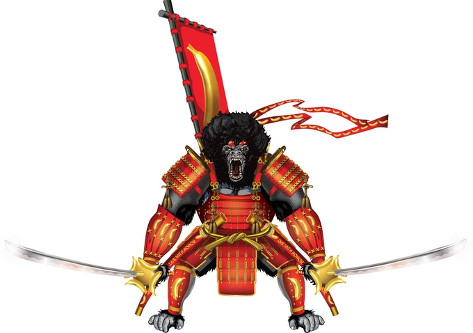 The Swords Of The Silverbacks™ are 6-foot long realistic-looking wooden cosplay katanas carried in the hands of the Samurai gorilla statue. They are not sold on this Kickstarter™, but are available by clicking the pic above.
