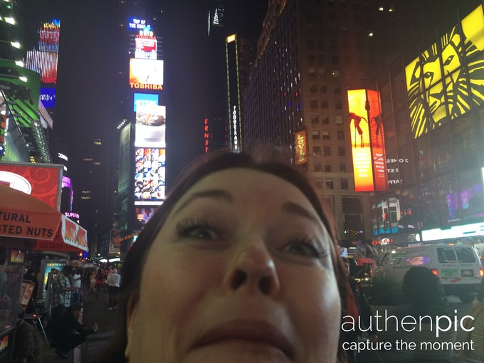 Linda looking gorgeous in Times Square