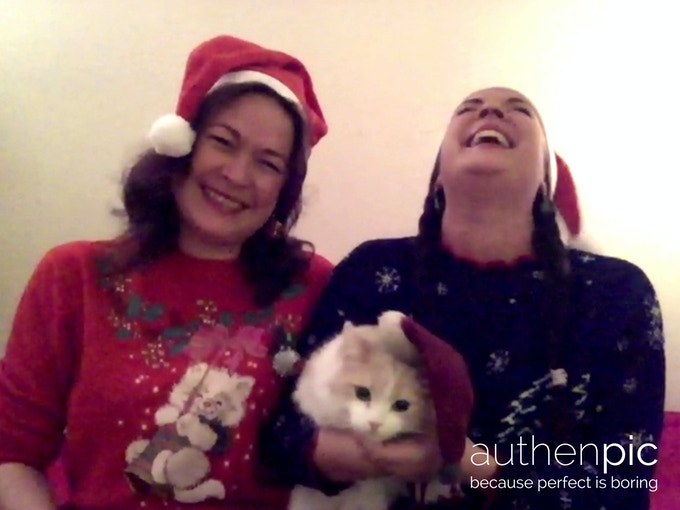 As authenpic as it gets. We're crazy, cat, Christmas ladies. This was our stray foster-cat Hermione.