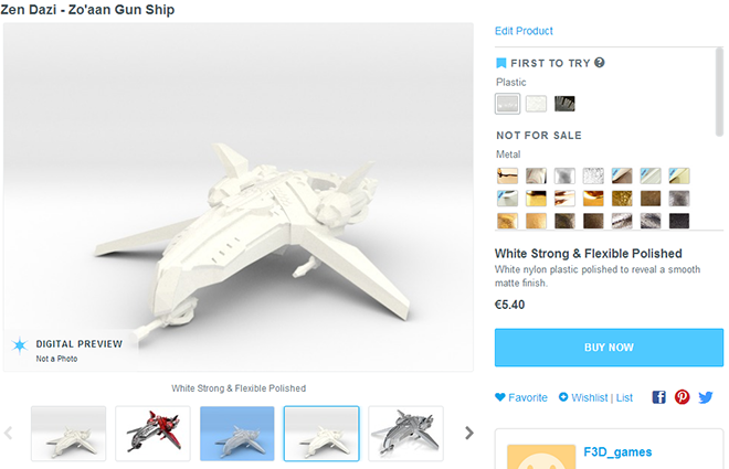See our Pre-confgured ships in the Shapeways store so you can see actual sizes and material prices