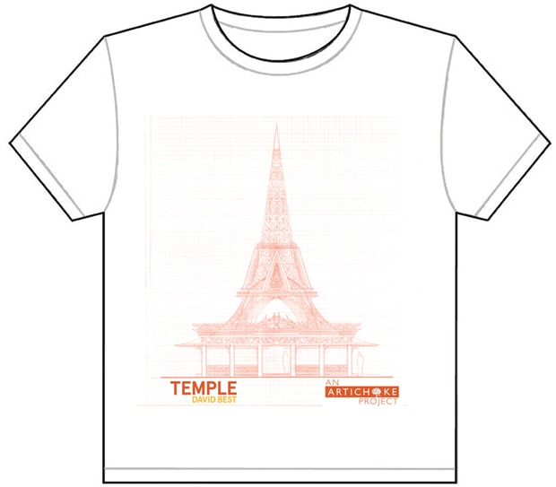 Temple T shirt featuring David's design of Temple.