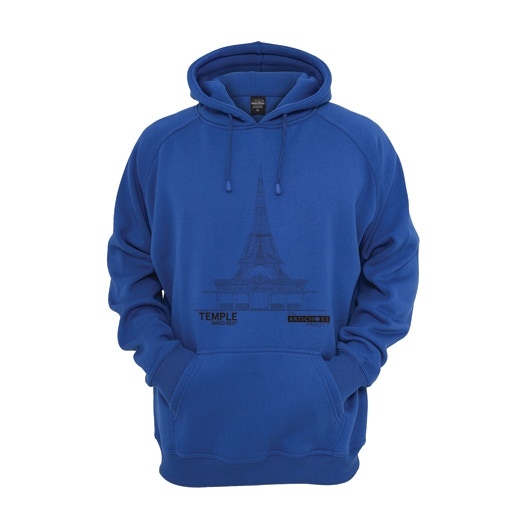 Hoodie with David's design screen printed onto it.