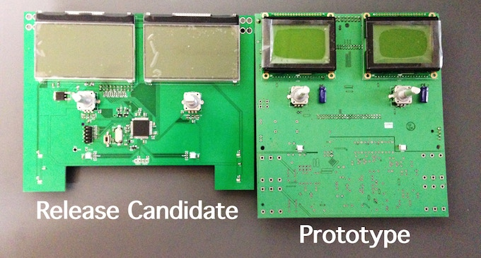 Display comparison: Release Candidate 1 X The prototype