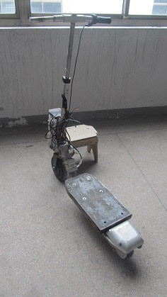 Test vehicle with added weights for tire/battery/motor performance