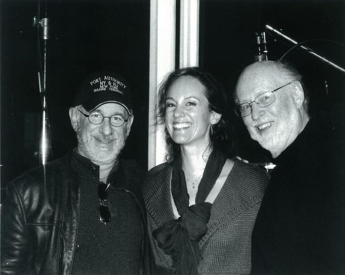 Lisbeth Scott, with Steven Spielberg and John Williams