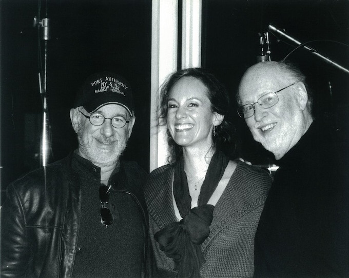 Lisbeth Scott, with Steven Spielberg and John Williams