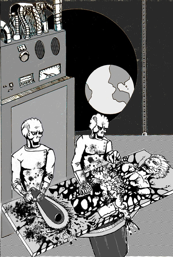 """Aliens doing their """"Autopsy"""" experiments on a live sample... Alien #1: """"Hmm what is this thing for?"""" Alien #2: """"Just rip it out and we'll see what breaks!"""" Alien #1: """"Heh-heh-heh... cool!"""" Artwork by Chuck Bowman"""
