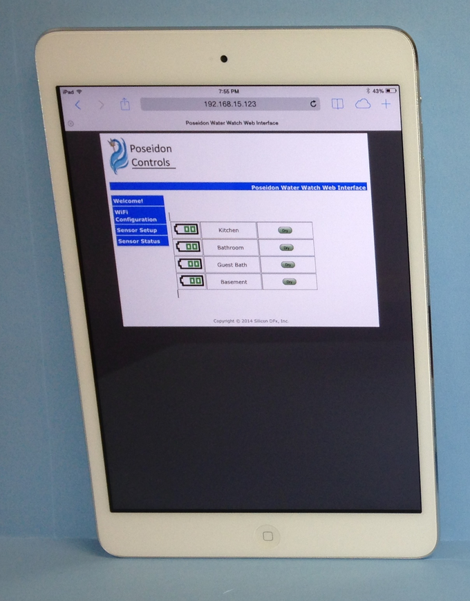 Tablet Displaying the Status of the Remote Water Sensors