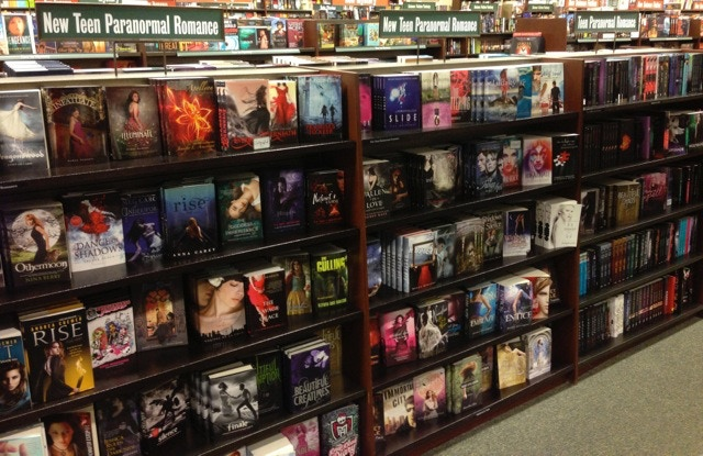 Shelves in a chain bookstore showing teen interest in the supernatural/paranormal