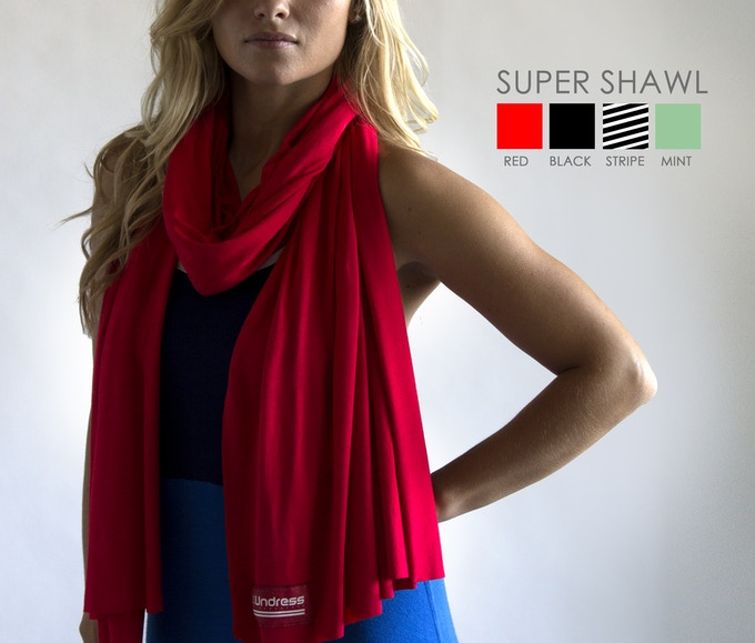 The Super Shawl is a perfect compliment to The Undress.  Designed to match the Undress PERFECTLY, these Super Shawls are big, soft, comfortable, and versatile.  One awesome size - 80 x 24 inches!