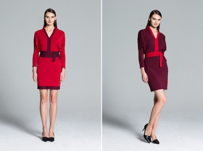 Kyoto Reversible Dress in Red and Burgundy