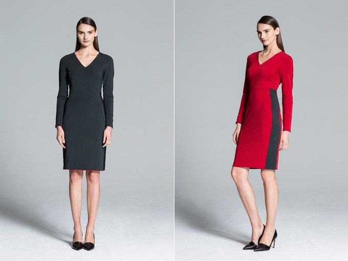 Bogota Reversible Knit Dress in Grey and Red