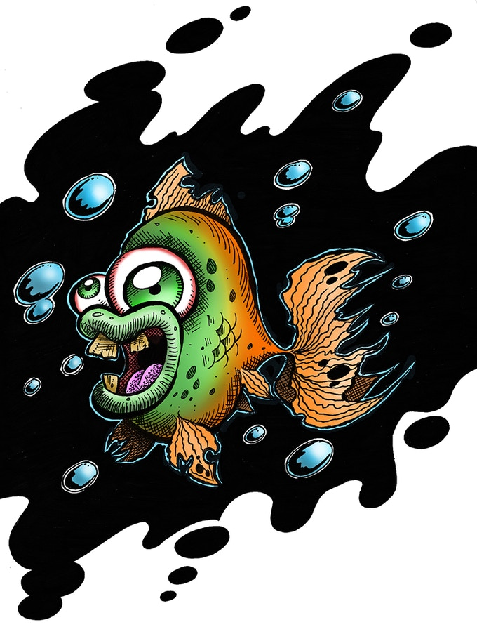Early Zombie Fish concept art