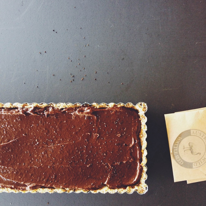 Glutein-free raw chocolate tart, spiked with Australian Wild wattle seed from Emma's book.
