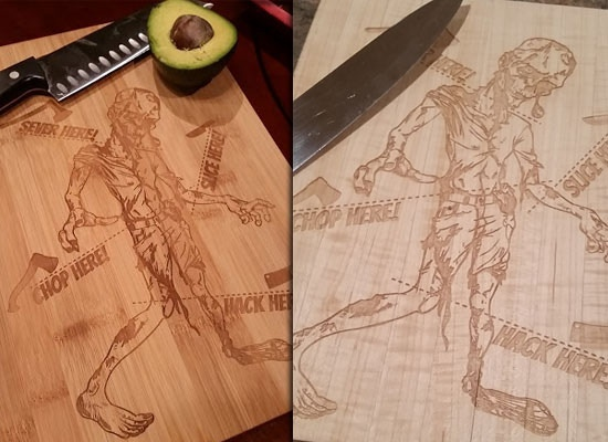 Zombie cutting boards chop up veggies and the undead