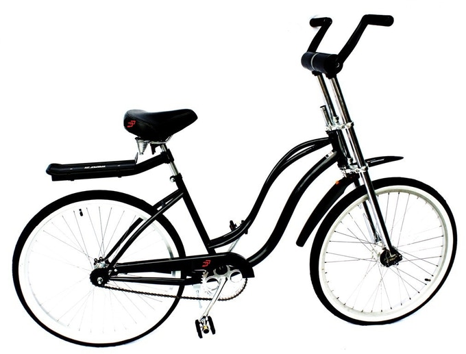 This new sleek Dual Drive Bike design uses a drive shaft up front to power the front wheel...no upfront chains!