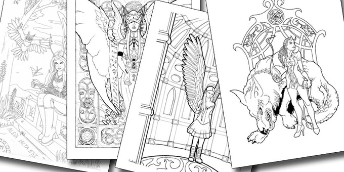 Fantasy Coloring Books for (so-called) Grown-ups by Ellen