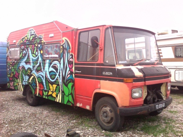 like the artists who decked out our old tour bus!