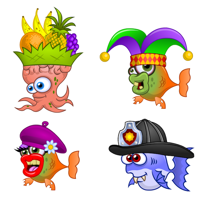 Just a small sample of the collectible hats you can put on your pet fish!
