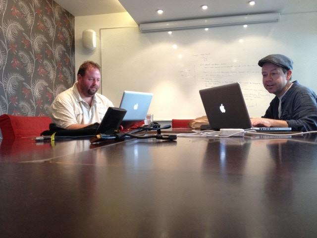 Christian Hallman & Måns F.G. Thunberg working on the screenplay for Sensoria