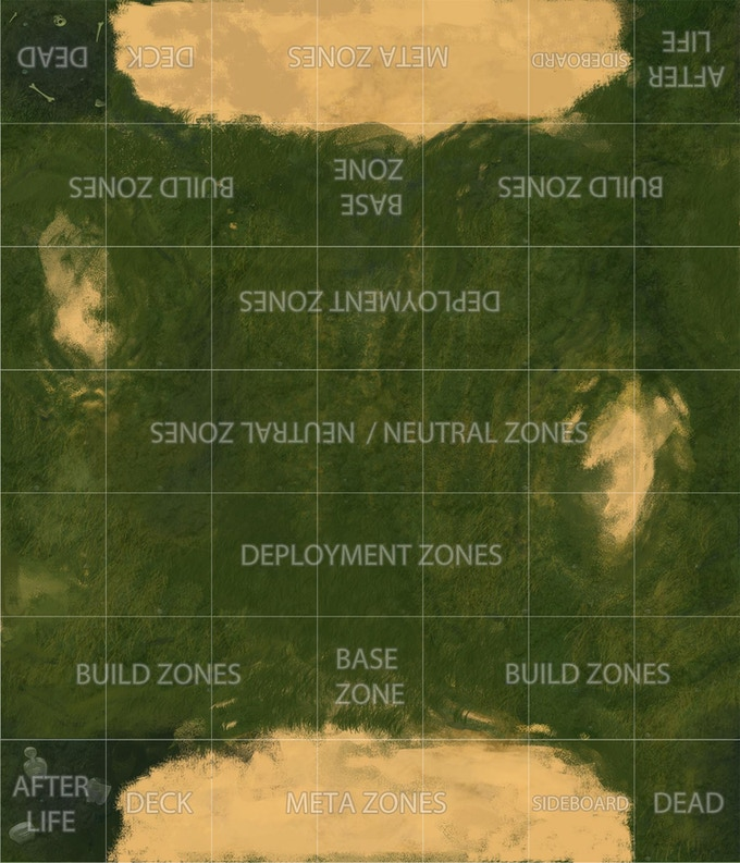 EWCG Playmat showing the battlefield (playmat not required to play)