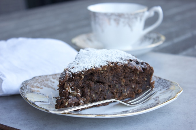 Chocolate zucchini + wattle seed cake