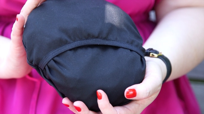 Can you believe that this compact pouch opens to the size of a towel?
