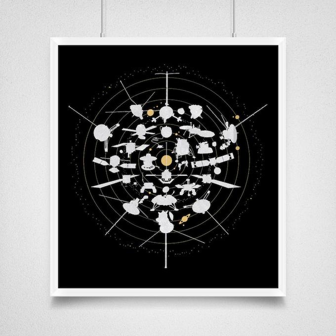 Beyond Earth as a letterpress print