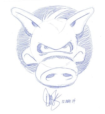 CEREBUS Headsketch in Blue Ball Point Ink