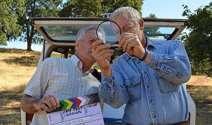 DP Russ Rayburn with Actor/director Perry King working on the look of The Divide