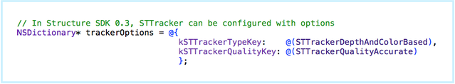 Code snippet: Selecting the new depth & color tracker.