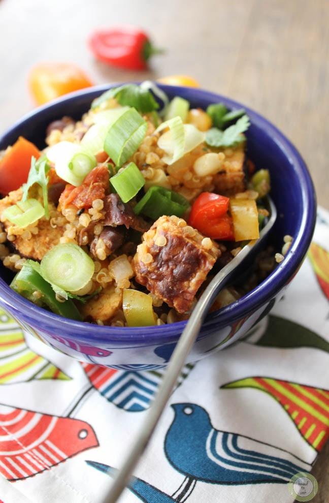 Cilantro lime tempeh bowl | Chef Robin Runner of kneadtocook.com | Photo courtesy of kneadtocook.com