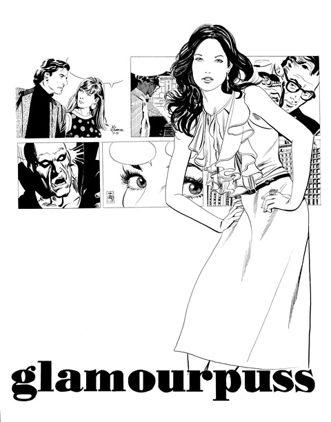 "BP #3: 11"" x 17"" line art print of the Glamourpuss Comixpress back cover advertisement."