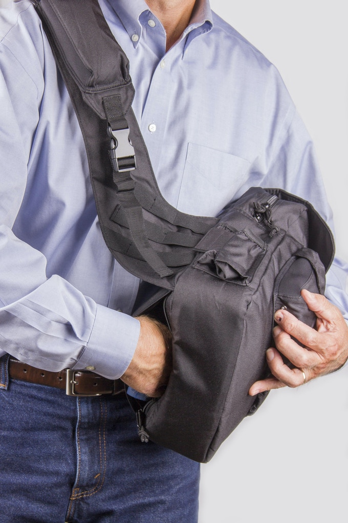 2.0 has pocket for concealed carry (Cloth version available at Man-PACK.com)