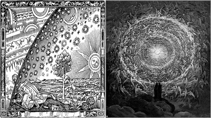 "Left: A traveller to the edge of the world peers through the celestial spheres at the wonders of the Empyrion beyond. From Camille Flammarion's L'atmosphère (1888). Right: The Empyrion in Dante Alighieri's ""Divine Comedy"", illustrated by Gustave Doré."
