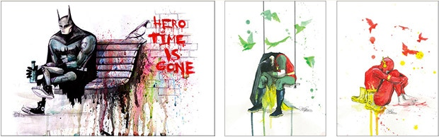Assorted works depicting Superheroes by Lora Zombie, 2010-2011