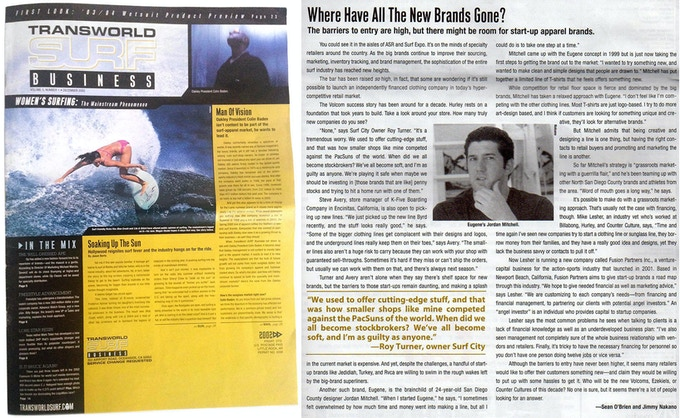 December 2002 Transworld Surf Business interview while working on my first line, Eugene.