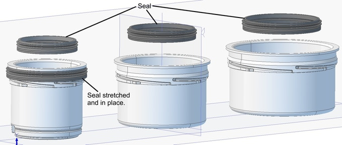 CAD image of new seals for white cup