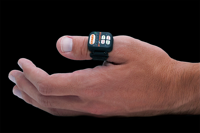 Thumb-worn timer offers non-visual, one hand operation.