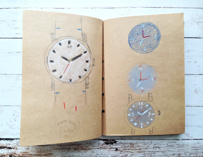 Early sketches of the case and different dial combinations.