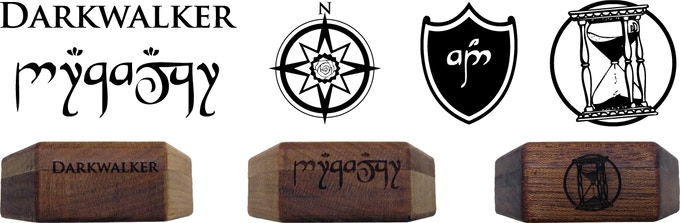 An example of English and Elvish Text on cherry, and the hourglass insignia on mahogany