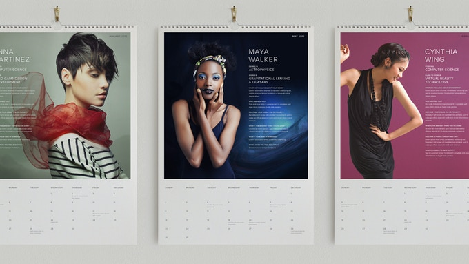 Prototype of calendar using stock imagery