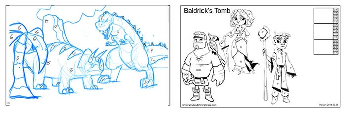 Dinosaurs for base game, Baldrick for Art Pad