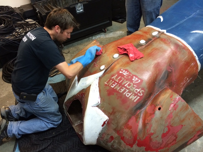 Uncovering original lettering on the giants chest was an exciting moment for our team