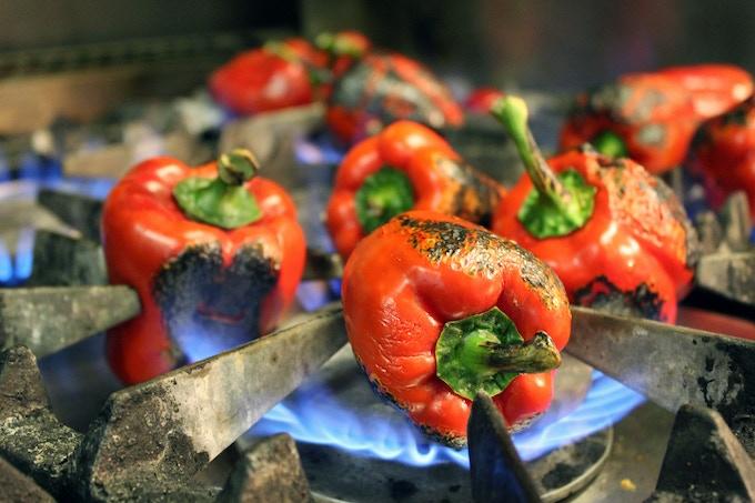 Preparing peppers for peperonata