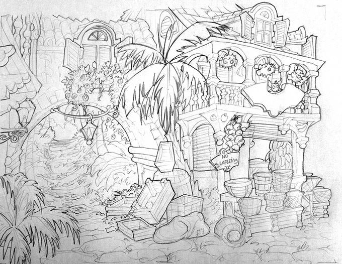 In-progress: The fruit stand between the wharf and a jungle full of wild beasts.