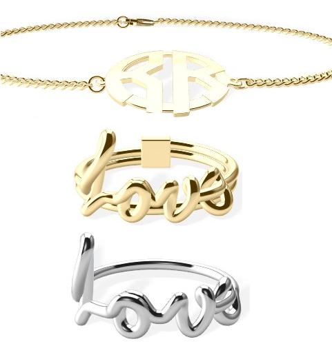 Moderngram Bracelet, Wordflow ring & Initial Sweep Ring