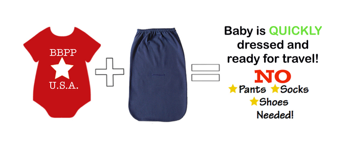 One-piece body suit plus Bebé PODPants equals Baby is dressed and ready to GO!