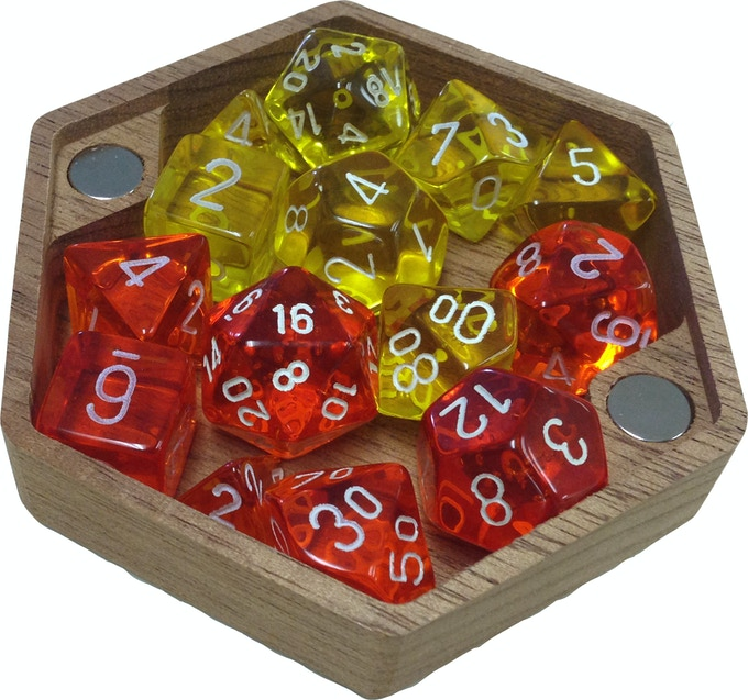 """The """"Open"""" style box can fit about 2 sets of DnD dice."""
